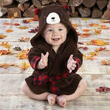 Beary Bundled Brown and Red Hooded Robe (Personalization Available)