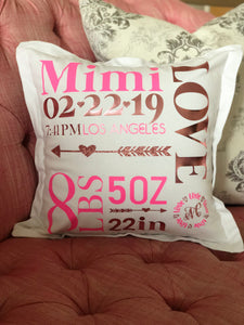 Personalized Birth Announcement Pillow - Birth Stats Pillow