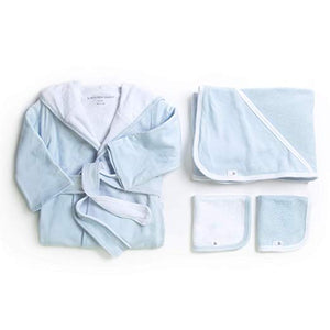 Burt's Bees Baby - Sky Bathtime Gift Bundle - Includes Bathrobe, Hooded Towel & Washcloths, 100% Organic Cotton