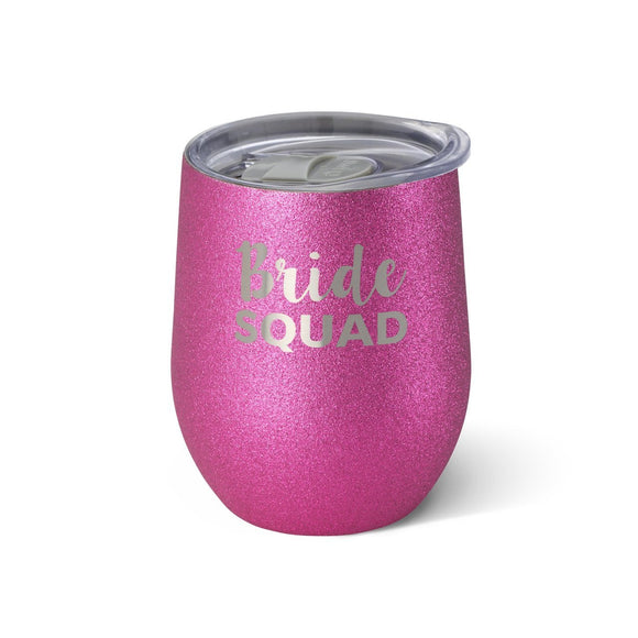 12oz Stemless Glitter Bride Squad Cup