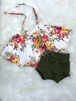 Red/Mustard Floral Swing Top