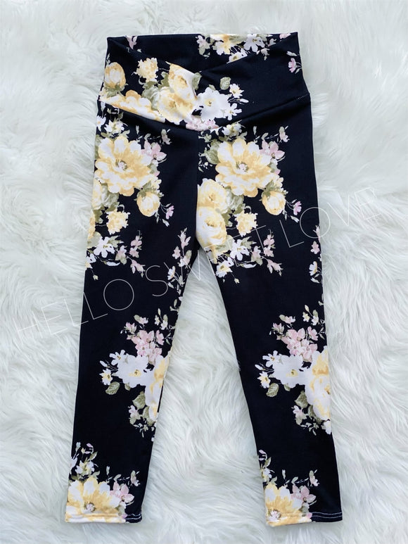 RTS-BLACK FLORAL LEGGING