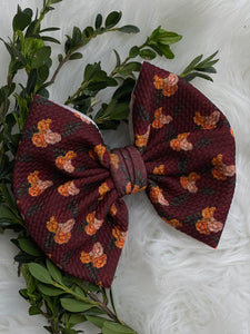 "RTS-maroon floral 6"" bow"