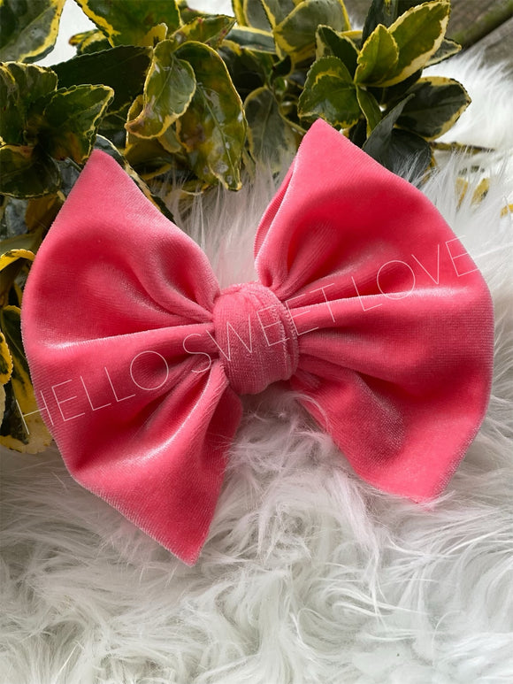 RTS- Coral Pink Velvet Bow