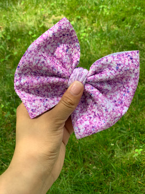 "RTS lilac faux glitter 6"" bow"