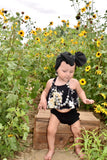 Black/White Floral Swing Top