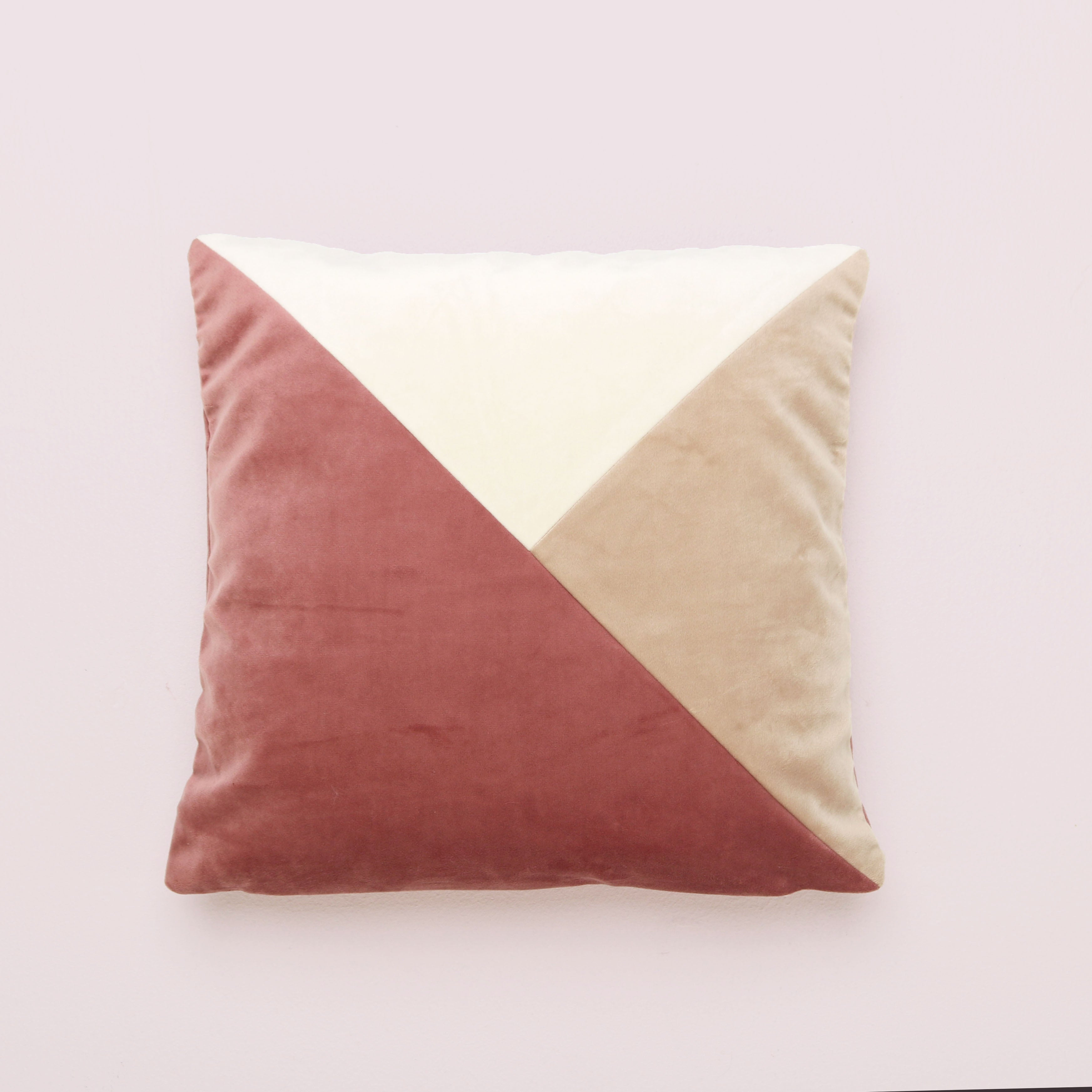 Dusky Pink Patchwork Square Cushion