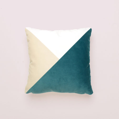 Teal Patchwork Square Cushion