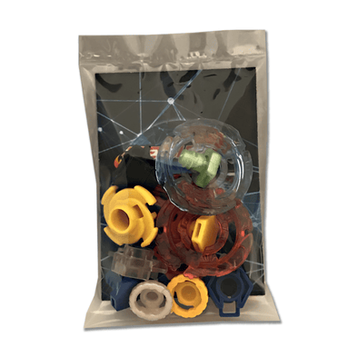 12 Piece Beyblade Plastic & Metal Parts Customizing Set - Performance Tips, Energy Rings, Spin Tracks, and Face Bolts