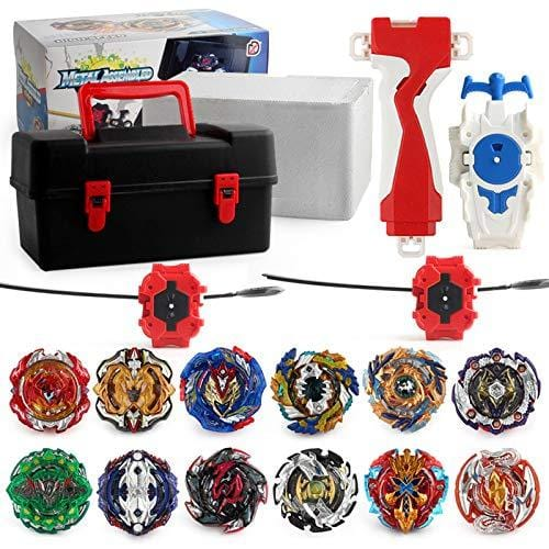 Burst Beyblade Battle Pack Essential - Storage Box, 12x Beyblades, 3x Launchers and Burst Grip