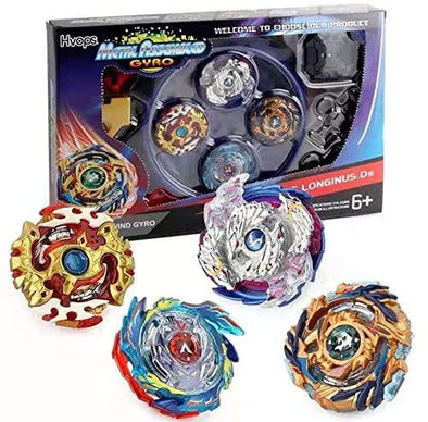 Burst Beyblade Starter Pack - 4 Pack Burst Beys, 2 Launchers, 1 Small Stadium