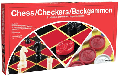 Checkers/Chess/Backgammon - 3 Games in One with Full Size Staunton Chess Pieces and Interlocking Checkers