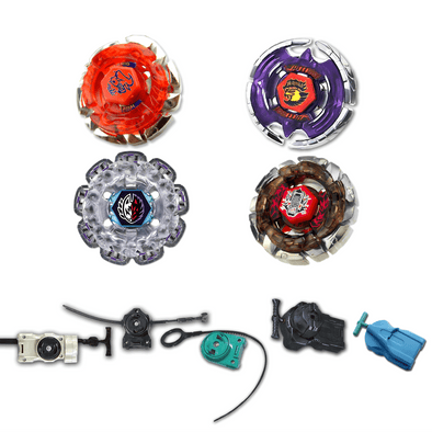 Beyblade 4 Pack Earth Eagle Aquila BB-47, Dark Wolf BB-29, Dark Bull BB-40, Divine Fox 90W2D + 1 Free Launcher