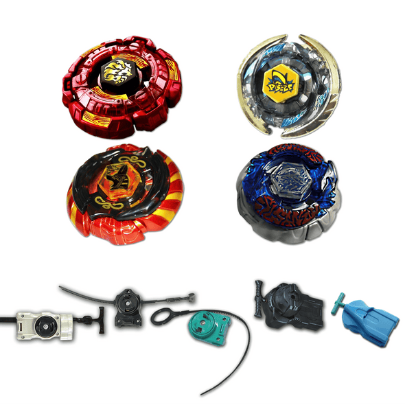 Beyblade 4 Pack Fang Leone Red BB-106, Pisces BB-83, Mercury Anubis Red 85XF, Bakushin Susanow White 105F + 1 Free Launcher