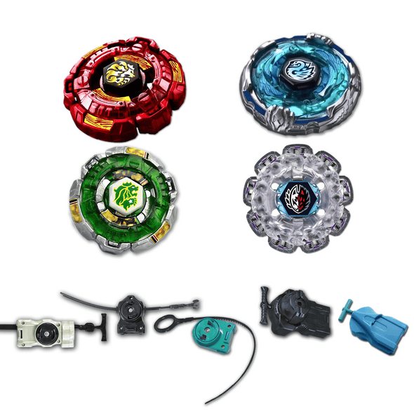 *SPECIAL* Beyblade 4 Pack Fang Leone Green B-147, Fang Leon Red BB-106, Divine Fox 90W2D, Kreis Cygnus BB-124 + 1 Free Launcher from Metal Fusion, Metal Fury, Metal Master Series