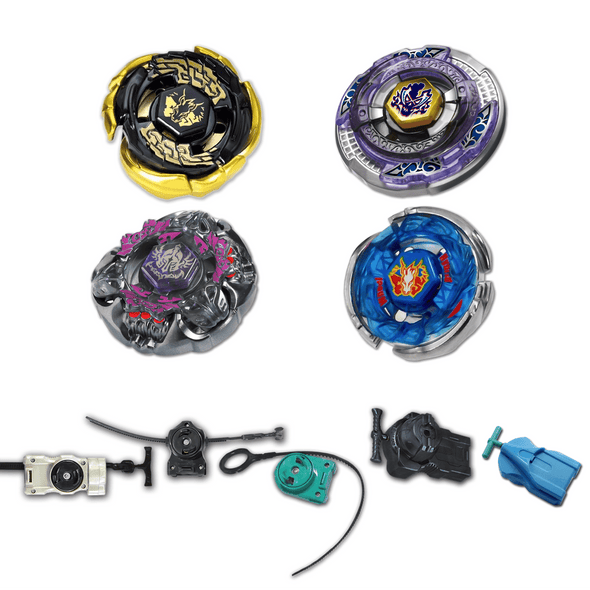 *SPECIAL* Beyblade 4 Pack Gravity Perseus, Gold Galaxy Pegasus, Storm Pegasus, Scythe Kronos + 1 Launcher