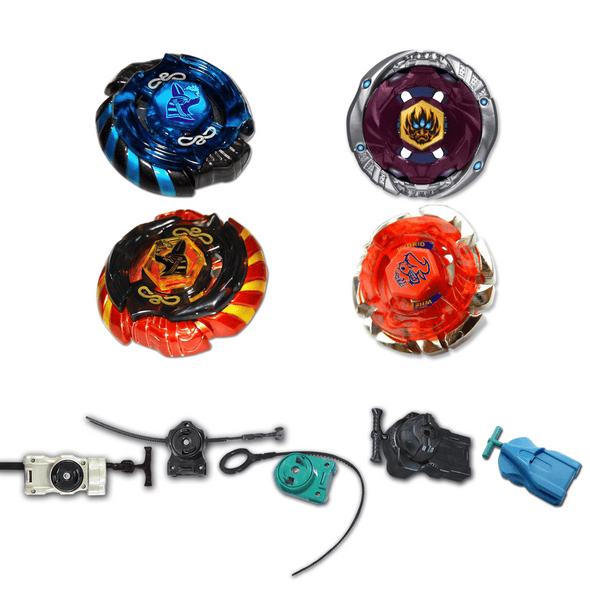 *SPECIAL* Beyblade 4 Pack Mercury Anubis Red 85XF, Mercury Anubis B-166, Phantom Orion B-152, Dark Bull B-40  + 1 Free Launcher from Metal Fusion, Metal Fury, Metal Master Series