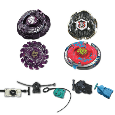 Beyblade 4 Pack Bakushin Susanow Black BB-122, Screw Lyra BB-116, Poison Giraffe (Zurafa) S120MB, Thermal Lacerta BB-74 + 1 Free Launcher
