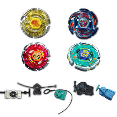 Beyblade 4 Pack Ray Unicorno BB-71, Galaxy Pegasus BB-70, Virgo BB-60, Cancer BB-100 + 1 Free Launcher