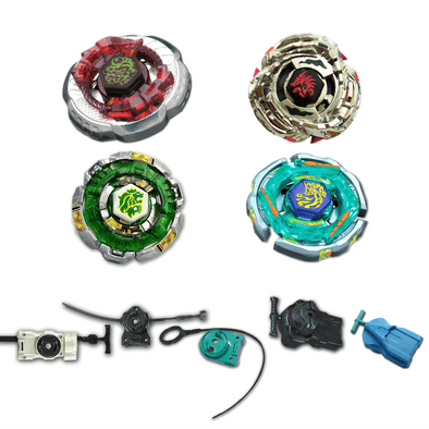 Beyblade 4 Pack Ray Unicorno BB-71, Rock Leone Counter Attack 145D, Scorpio BB-65, Meteo L-Drago Guardian BB-121C + 1 Free Launcher