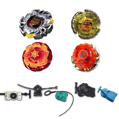 Beyblade 4 Pack Variares BB-114, Dark Bull BB-40, Sol Blaze Red V145AS, Nightmare Rex B-132 + 1 Free Launcher