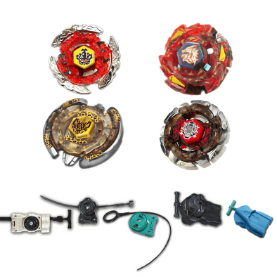 Beyblade 4 Pack Beat Lynx BB-109, Dark Wolf BB-29, Meteo L-Drago Rush Red BB-98B, Hell Crown BB-116 + 1 Free Launcher