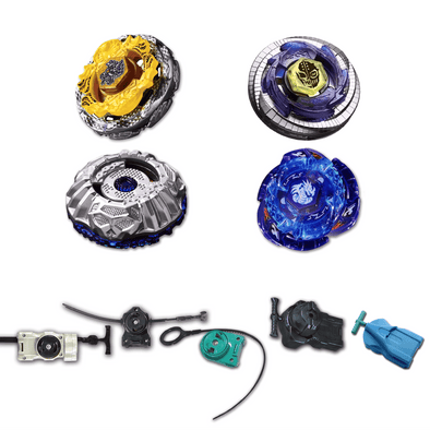 Beyblade 4 Pack Death Quetzacoatl BB-119, Duo Uranus Ice Titan BB-121A, Proto Nemesis B-156, Omega Dragonis BB-M28 + 1 Free Launcher from Metal Fusion, Metal Fury, Metal Master Series