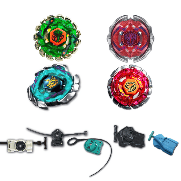 *SPECIAL* Beyblade 4 Pack Blitz Unicorno BB-117, Poison Serpent BB-69, Forbidden Eonis BB-116, Cancer BB-100 + 1 Free Launcher