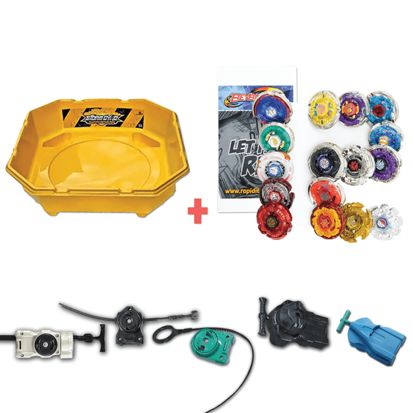 Exclusive Beyblade Battle Ready Starter Pack w/ Stadium, Beyblade Combo 12 Pack, 2 Random Launchers