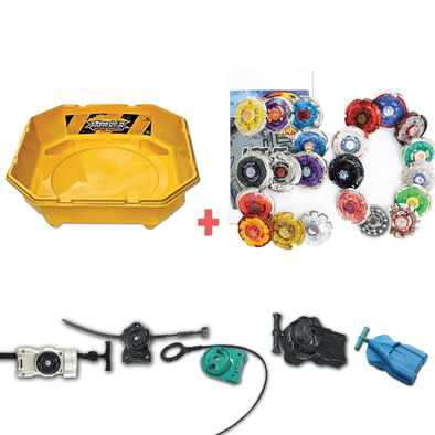 Exclusive Beyblade Battle Ready Starter Pack w/ Stadium, Beyblade Combo 20 Pack, 2 Random Launchers