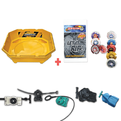 Exclusive Beyblade Battle Ready Starter Pack w/ Stadium, Beyblade Combo 4 Pack, 2 Random Launchers