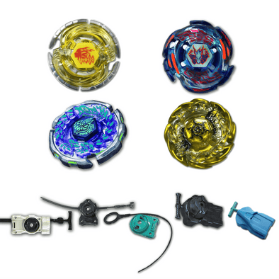 Beyblade 4 Pack Galaxy Pegasus BB-70, Virgo BB-60, Ray Gil BB-91, Sol Blaze Gold V145AS + 1 Free Launcher