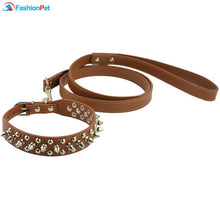 Load image into Gallery viewer, Leather Pet Dog Collar and Leash Set