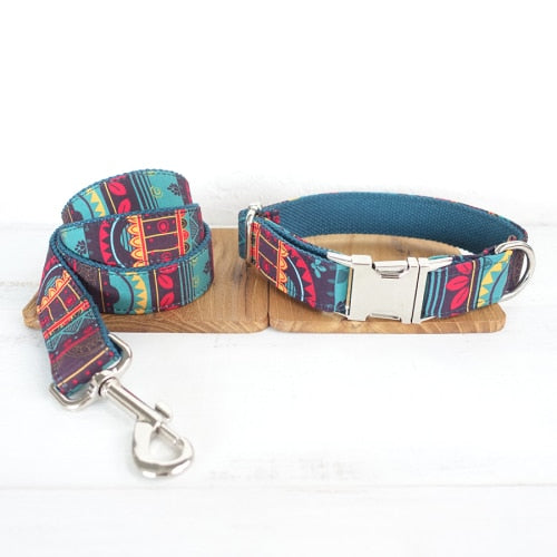 Top Quality Handmade Mayan Culture Design Dog Collar, Leash