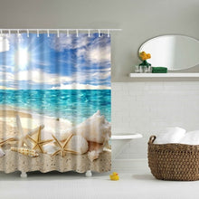 Load image into Gallery viewer, Beach Conch Starfish Shell Shower Curtain