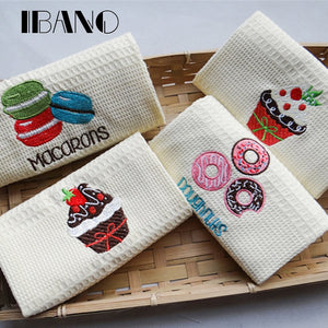Maccaron/Cakes/Donuts Embroidery Dish Towel Kitchen Cleaning Cloth 48x68cm Waffle Tea Towel