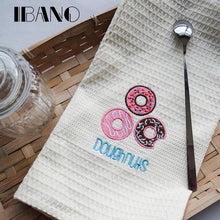 Load image into Gallery viewer, Maccaron/Cakes/Donuts Embroidery Dish Towel Kitchen Cleaning Cloth 48x68cm Waffle Tea Towel