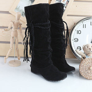 Fringe Half Knee High Boots