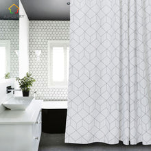 Load image into Gallery viewer, White and Grey  Fabric Shower Curtain with 12 Hooks 71Wx71H High Quality Waterproof and Mildewproof