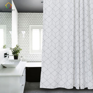 White and Grey  Fabric Shower Curtain with 12 Hooks 71Wx71H High Quality Waterproof and Mildewproof