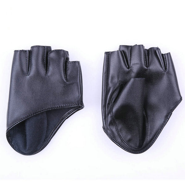 Fashion Half Finger Faux leather Driving Gloves