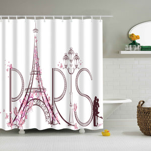 Waterproof Polyester Fabric Shower Curtain Romantic Paris Eiffel Tower
