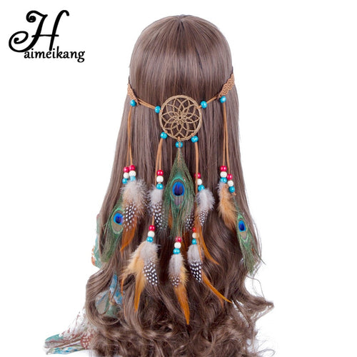 Bohemian Hippie Headband Dream Catcher Feather Headdress