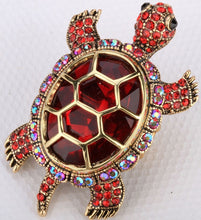 Load image into Gallery viewer, Big turtle stretch ring / crystal silk scarf ring