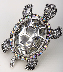 Big turtle stretch ring / crystal silk scarf ring