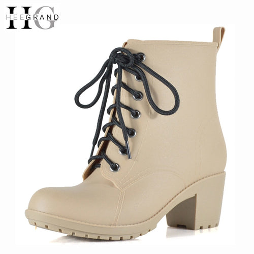Med Heels New Shoes Woman High Quality Rain boots