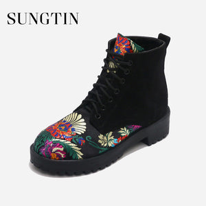 Flower Embroidery Lace Up Ankle Boots