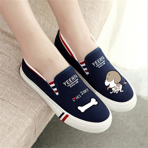Dog with a bone printed Canvas shoes