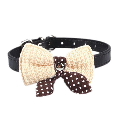 Knit Bowknot Adjustable  Pet Collars