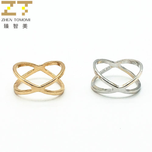 Hot Fashion  Gold Color And Silver Plated X Cross  Hollow Ring